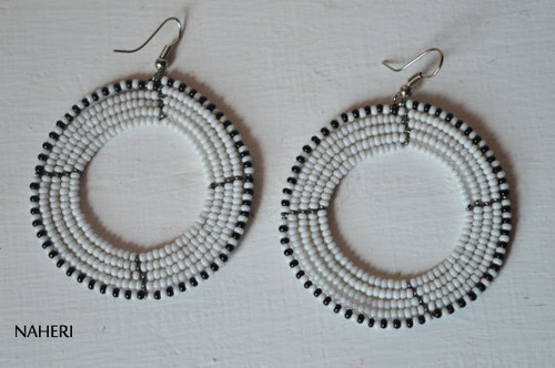 African earrings white round jewelry