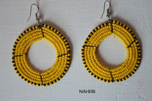 African earrings beaded round hoop yellow