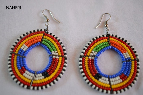 African earrings maasai tribal multicolored