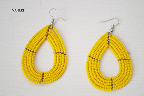 yellow hoop earrings African jewelry