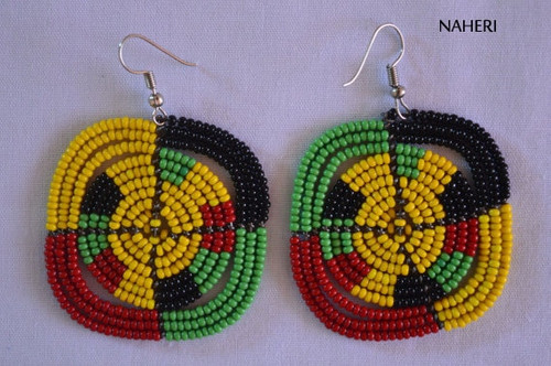 African inspired rasta color beaded earrings