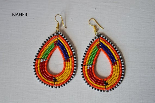African earrings maasai beaded multicolored