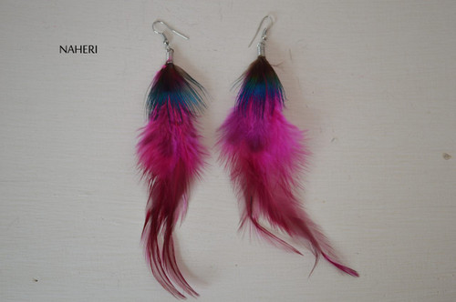 African inspired feather earrings hot pink