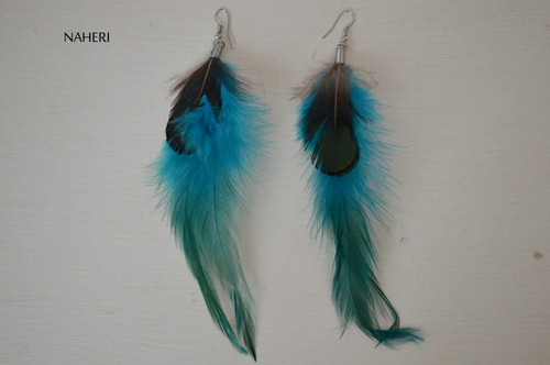 African inspired feather earrings teal blue