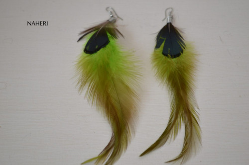 African inspired feather earrings light green