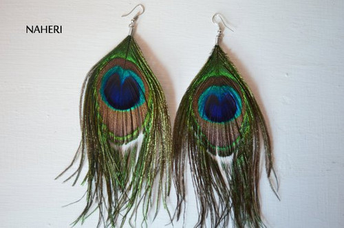 African inspired peacock feather earrings