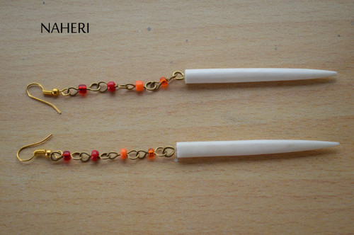 African inspired bone earrings white with chain