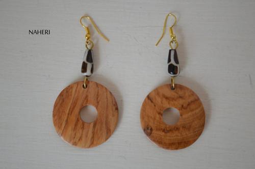 African inspired bone earrings wood