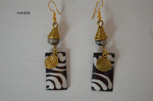 African inspired bone earrings brass