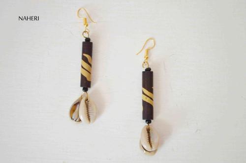 African inspired earrings tribal cowrie shells