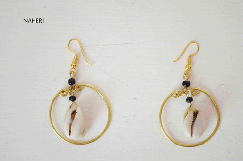 cowrie shell earrings with brass