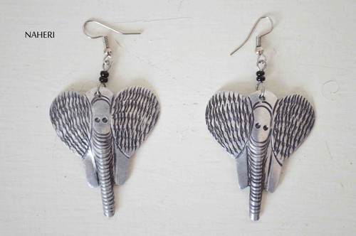 African silver earrings elephant jewelry