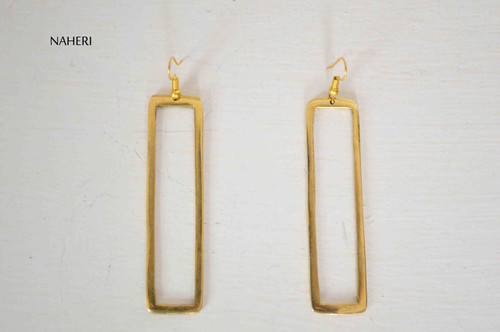 Rectangle brass earrings African inspired jewelry