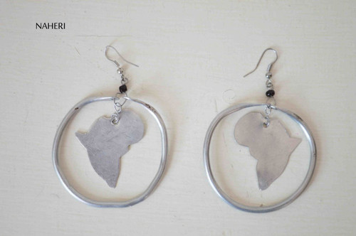African map silver metal earrings African jewelry