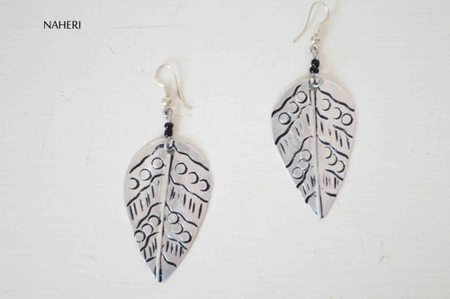 African metal earrings leaf silver jewelry