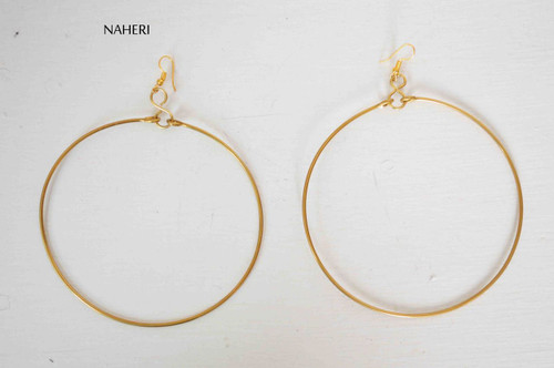 Brass wire earrings round African inspired jewelry