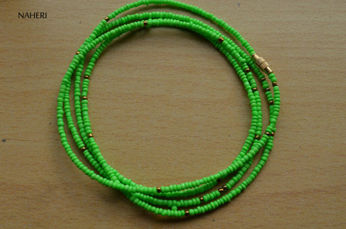 African inspired lime green beaded waist beads