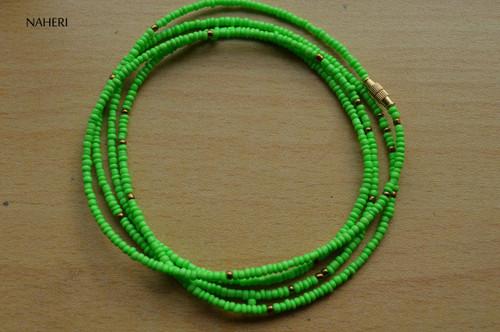 African inspired lime green beaded waist beads