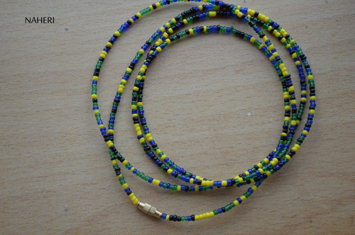 African beaded waist beads black yellow blue green