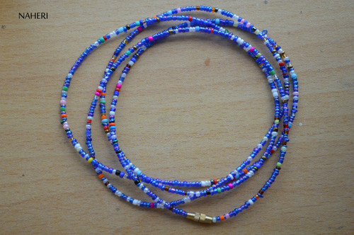African beaded waist beads chameleon blue