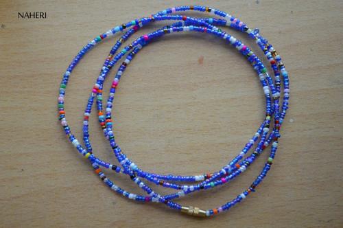 African beaded waist beads chameleon blue