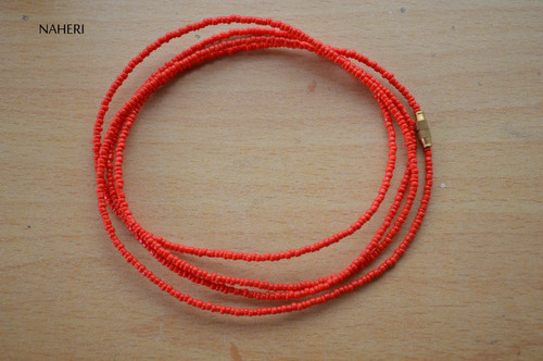 African inspired matt red beaded waist beads