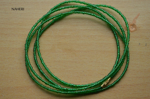 African handmade beaded shinny green waist beads
