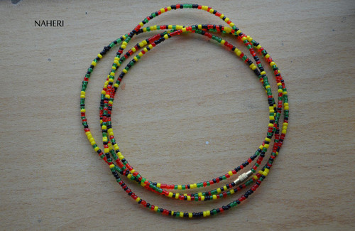 African beaded waist beads red green yellow black