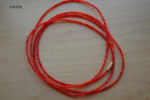 African beaded shinny red beaded waist beads