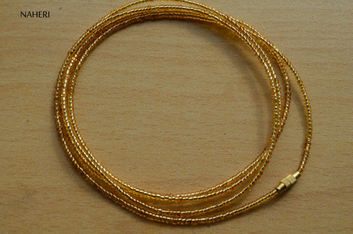 African inspired gold beaded waist beads