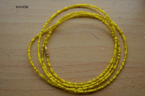 African beaded mixed yellow color waist beads
