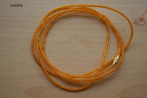 African inspired amber beaded waist beads