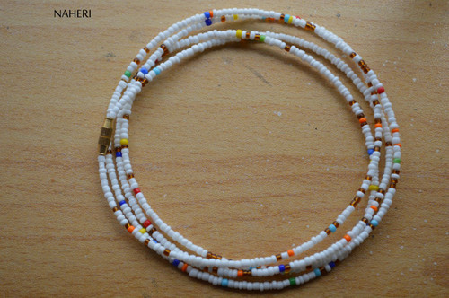 African beaded white brown and mix waist beads