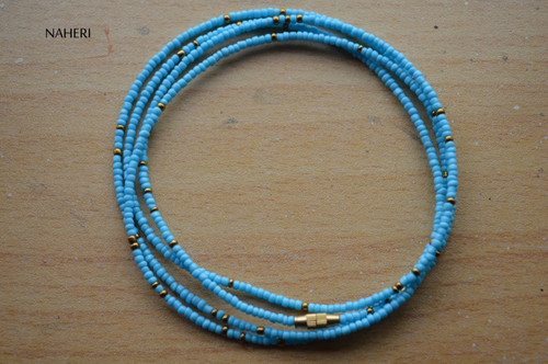 African beaded sky blue with copper waist beads