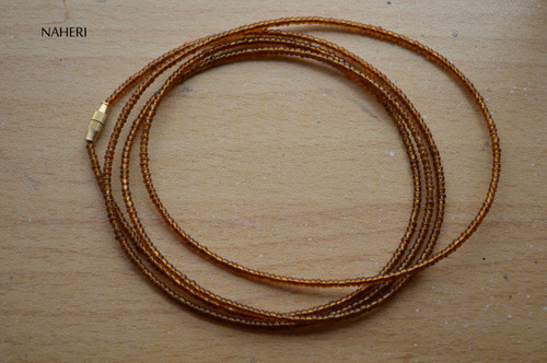 African inspired chocolate brown beaded waist beads