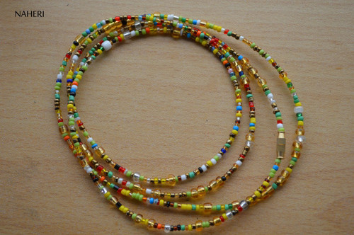 Large gold beads with mixed color waist beads