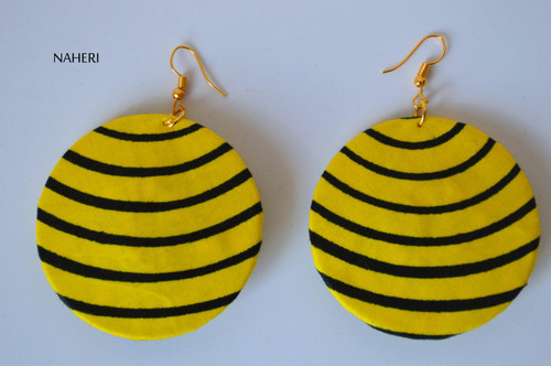 African print fabric round earrings striped yellow