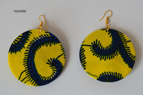 African print fabric round earrings yellow
