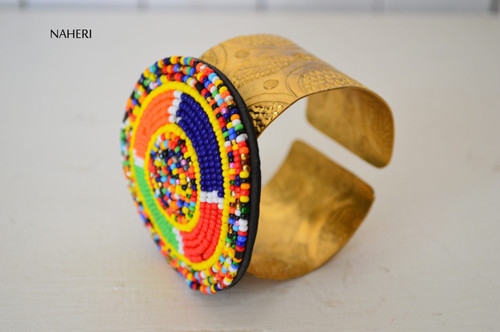 African  beaded bracelet with brass