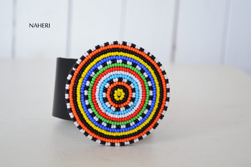 African maasai beaded bracelet with leather