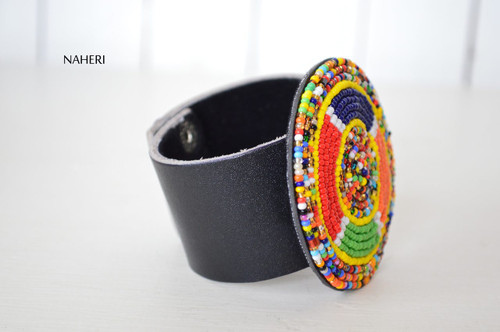 African inspired leather and beaded bracelet