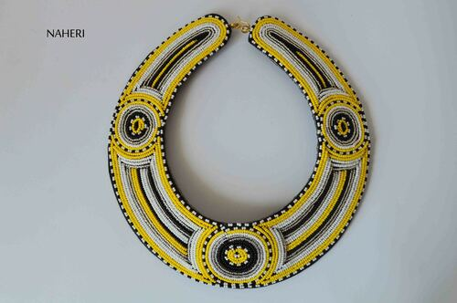 African bib collar necklace maasai beaded jewelry