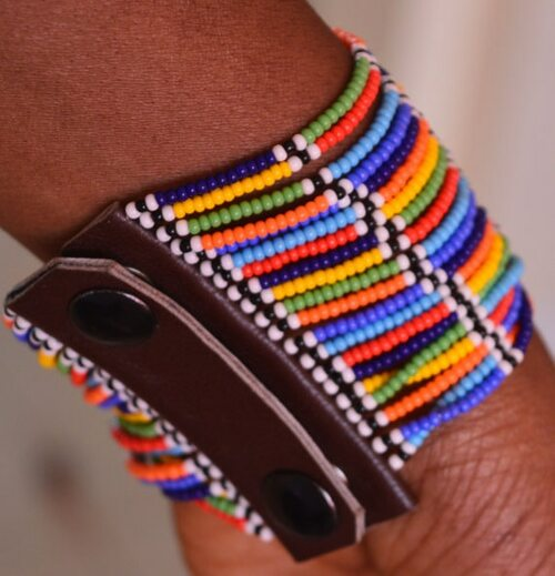 African inspired beaded cuff bracelet