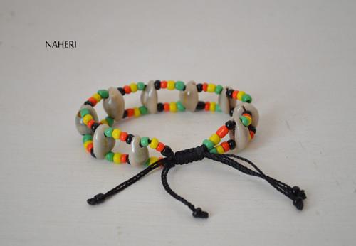 African inspired rasta shell drawstring bracelet
