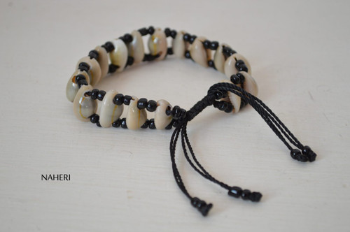 African inspired beaded shell drawstring bracelet