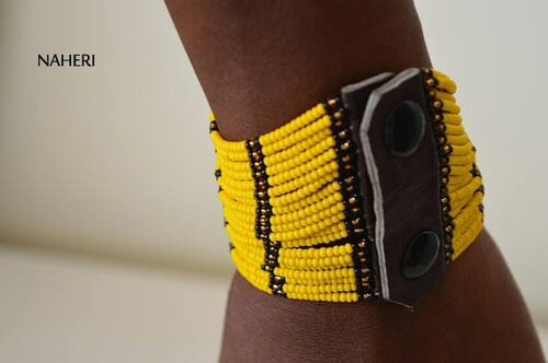 African inspired yellow beaded cuff bracelet