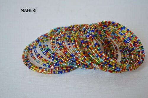 African spiral coil around bracelets mixed shinny