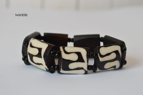 African inspired bone bracelet with elastic