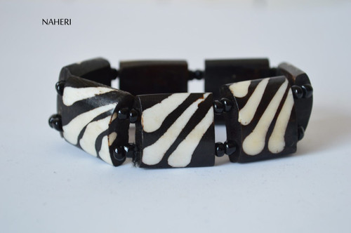 African beaded bone bracelet with elastic
