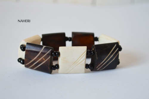 African engraved bone bracelet with elastic